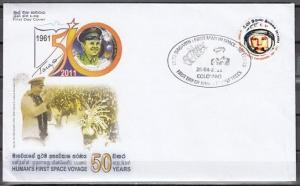Sri Lanka, Scott cat. 1787. Yuri Gagarin, Space issue on a First day cover.