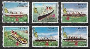 Paraguay MNH Set Of 6 Ships & Statue Of Liberty 1986