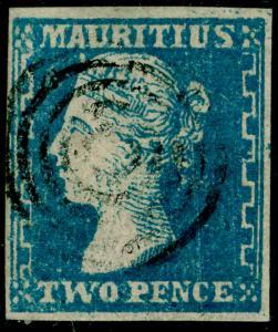 MAURITIUS SG43a, 2d blue, FINE USED. Cat £950. RPS CERT.