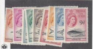TRISTAN DA CUNHA # 28-32,35-41  VF-MH  VARd  1960 QEII FISH DESIGNS  CV $89