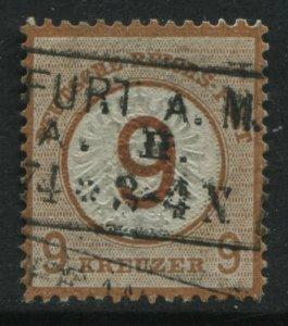 German Empire 1874 Large Shield 9 gr on 9 gr orange brown used
