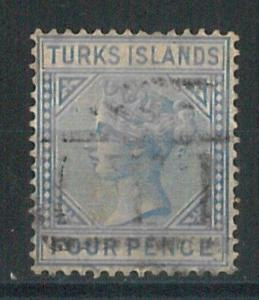 70631 -  TURKS ISLAND  - STAMP : Stanley Gibbons #  50 -  USE: MUTE T postmark