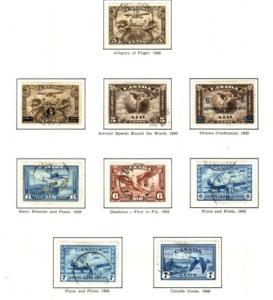 Canada Sc C1-9 airmail stamps complete used