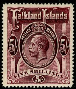 FALKLAND ISLANDS SG67b, 5s maroon, NH MINT. Cat £130.