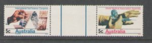 Australia Sc 440-41 1969 Science & Medicine stamp gutter pair mint NH