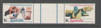Australia Sc 440-41 1969 Science & Medicine stamp gutter pair mint NH