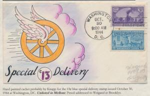#922 & #E17 RARE WEIGAND DESIGN HANDPAINTED FDC 13¢ SPECIAL DELIVERY BS2929