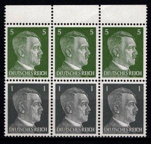 Germany 1941 Adolf Hilter, Marginal Block of 6 [Mint]