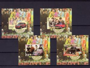 Chad 2009 THE BEATLES (4) Deluxe s/s Imperforated Mint (NH)