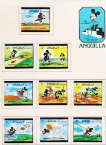 DISNEY ANGUILLA 559-567 MINT NH 1984 OLYMPICS DECATHLON