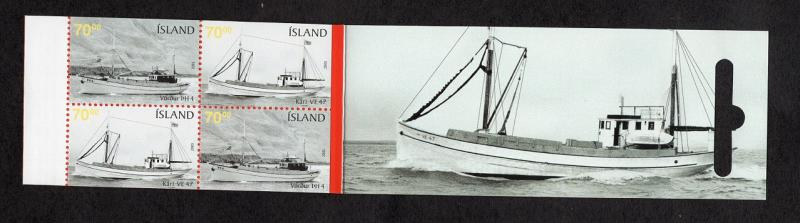 Iceland  #1045c  2005  MNH booklet fishing boats  4x70k