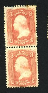 88 MINT Pair F-VF OG LH Top stamp thin bottom tiny stain Cat $2,000