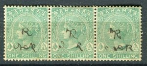 BAHAMAS; 1865- classic QV Crown CC Revenue used Shade of 1s. STRIP