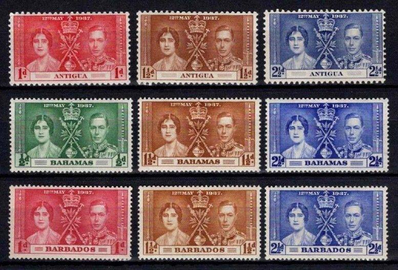 1937 Antigua / Bahamas / Barbados Coronation Sets
