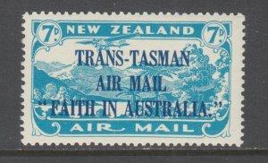 New Zealand Sc C5 MLH. 1934 7c bright blue Air Post with dark blue overprint
