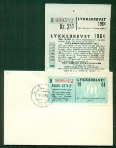 NORWAY 1964 Lottery Stamp - all 3 sections, valid for postage for just 2 months