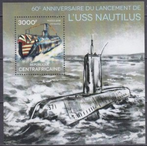 2014 Central African Republic 4849/B1182 60 years of the Nautilus submarine 14,0