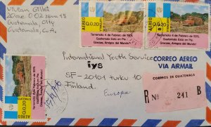 A) 1976, GUATEMALA, CIRCULET COVER TO FINLAND, AIRMAIL, REGISTERED, EARTHQUAKE O