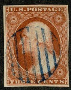 #10A  Scott CV $145  #10A XF-SUPERB, rich orange brown color, large margins a...