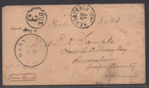 **US Stampless Cover Marysville, CA to Rensseler, IN, FWD W Due 3 to So Bend, IN