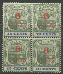 STAMP STATION PERTH Mauritius #113 Coat of Arms Overprint MLH Block of 4