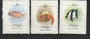 Tonga MNH 565,567,572 Fish SCV 5.95