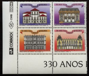 01818 Brazil Scott #2416 Block of 4 buildings architecture post offices MNH