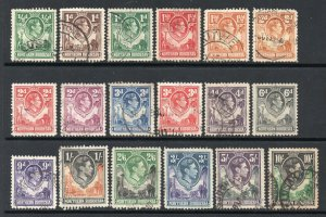 Northern Rhodesia 1938 KGVI p/set (18v.) used CV £109