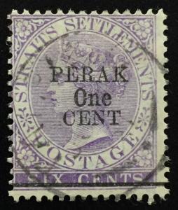 Malaya Perak 1891 opt Straits Settlements QV 1c on 6c Used SG#47 CV£160 M2017