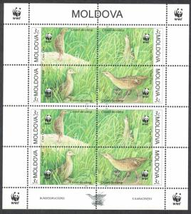Moldova Birds WWF Corncrake Sheetlet of 2 sets SG#382-385 MI#379-382 SC#370 a-d