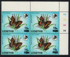 Lesotho Butterfly Mountain Beauty Overprint Top Corner block of 4 SG#725