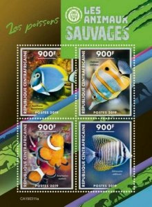 Central Africa - 2019 Wild Animals Fishes - 4 Stamp Sheet - CA190311a