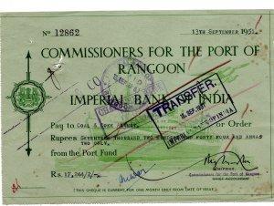 cheque 1951 / india
