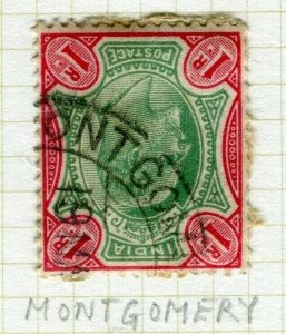 INDIA; POSTMARK fine used cancel on QV issue, Montgomery