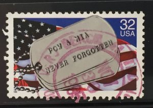 US #2966 Used F/VF - POW & MIA Never Forgotten 32c