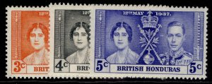 BRITISH HONDURAS GVI SG147-149, CORONATION set, M MINT.