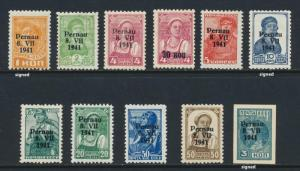 ESTONIA -PERNAU GERMAN OCCUPATION 1941 SET, VF MLH Mi#1-10+IMERF