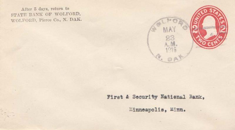 United States North Dakota Wolford 1916 doane 3/1  Postal Stationery Envelope...