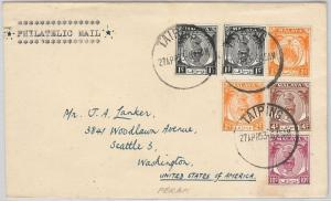 MALAYA PERAK -  POSTAL HISTORY -  COVER from TAIPING to USA 1953