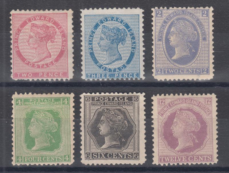 Prince Edward Island Sc 5/16 MOG. 1862-72 issues, 6 different, each with a fault