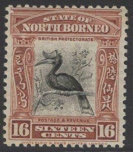 NORTH BORNEO SG174 1909 16c BLACK & BROWN-LAKE MNH
