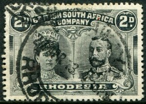 RHODESIA-1910-13 2d Black & Grey-Black Sg 130 GOOD USED V48377