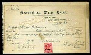 1911 Metropolitan Water Board M.W.B. Overprint full Receipt