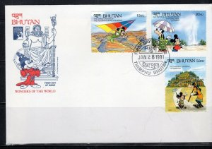 1991 BHUTAN  FDI FDC FIRST DAY COVER DISNEY  STAMPS    LOT 8141
