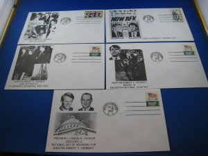 U.S. 1968 - SCOTT #various    5 FDCs -  Robert Kennedy in Memoriam