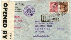 BRAZIL WW2 Cover Permanbuco Intercepted BERMUDA CENSOR Switzerland 1942 LS204