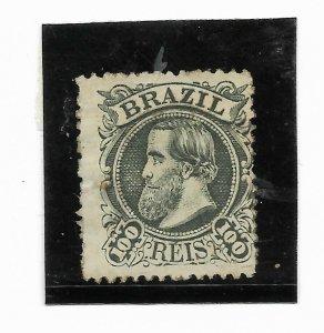 BRAZIL YEAR 1882 Emperor Dom Pedro 100R GREEN  Scott 83 MINT HINGED VF