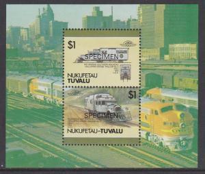 Tuvalu Nukufetau 1987 Trains SS Specimen MNH