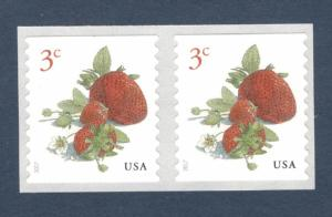 5201 Strawberries US 3 Cent Coil Pair Mint/nh FREE SHIPPING
