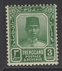 MALAYA TRENGGANU SG28 1926 3c GREEN MTD MINT